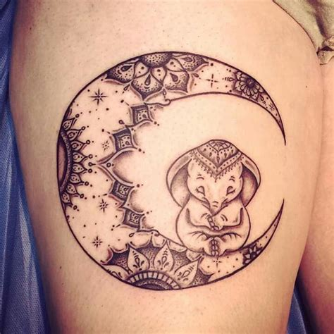 boho moon amp elephant tattoo tattoos pinterest