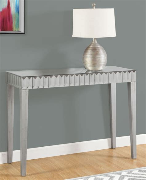 brushed silver table brushed silver 42 quot console table from monarch coleman