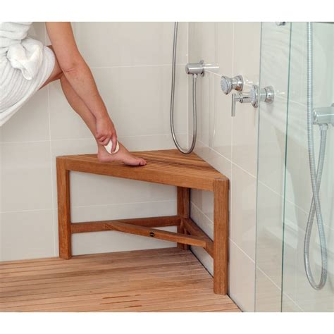 teak bench for shower fiji corner natural teak shower bench