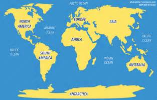 World Continents Map by 5 Oceans Of The World The 7 Continents Of The World