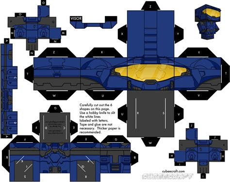 Papercraft Cubeecraft - spartan blue team halo cubeecraft cubeecraft