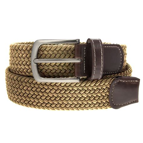 Woven Faux Leather Belt braided belt nickel finish buckle faux leather elastic