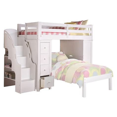 loft bed with bookcase freya loft bed with bookcase white acme