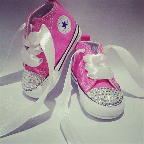 baby pink customised converse crib shoes