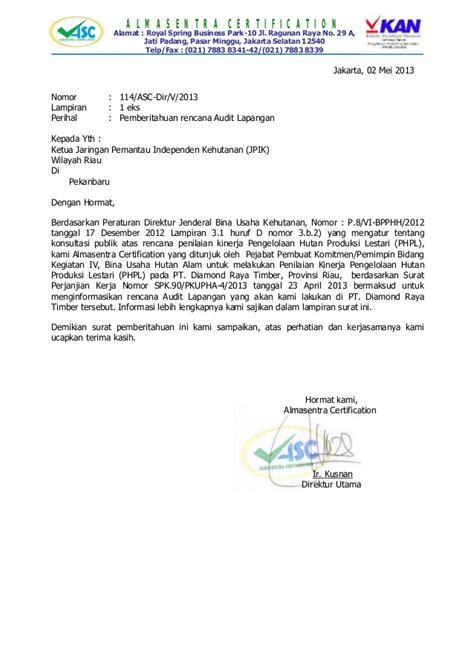 pemberitahuan audit phpl pt raya timber