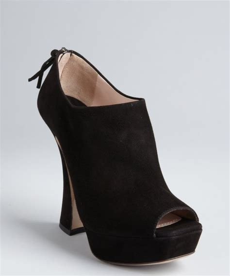 miu miu black suede open toe flared heel platform ankle