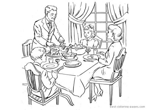 family meal coloring page thanksgiving dinner coloring pages getcoloringpages com