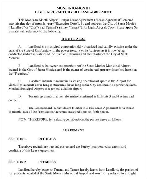 Lease Agreement Form Template Aircraft Lease Agreement Template