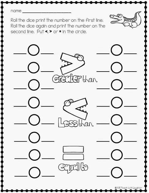 free greater than or less than worksheets math for k1