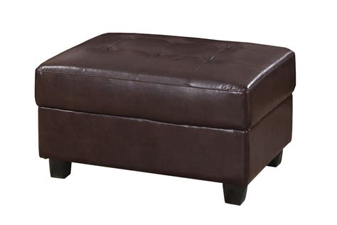 chocolate leather ottoman poundex odell f7270 brown faux leather ottoman in los