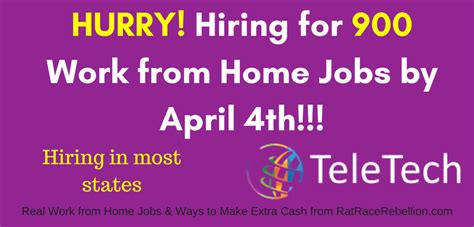 teletech hiring for 900 work from home by april 4th