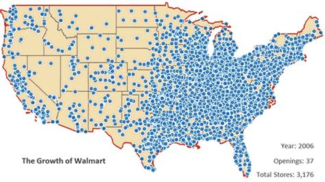 walmart map this depressing animated map shows walmart taking america grist
