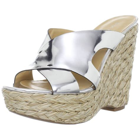 nine west sandal wedges nine west womens makenice wedge sandal in gray silver lyst