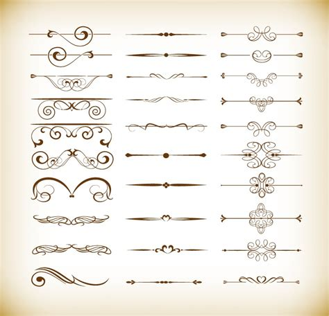 ornament design elements vector set vector set of calligraphic design decor elements free