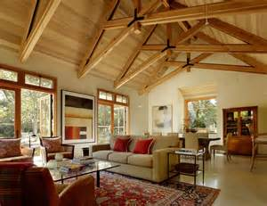 Exposed truss ceiling photos living room traditional with french doors