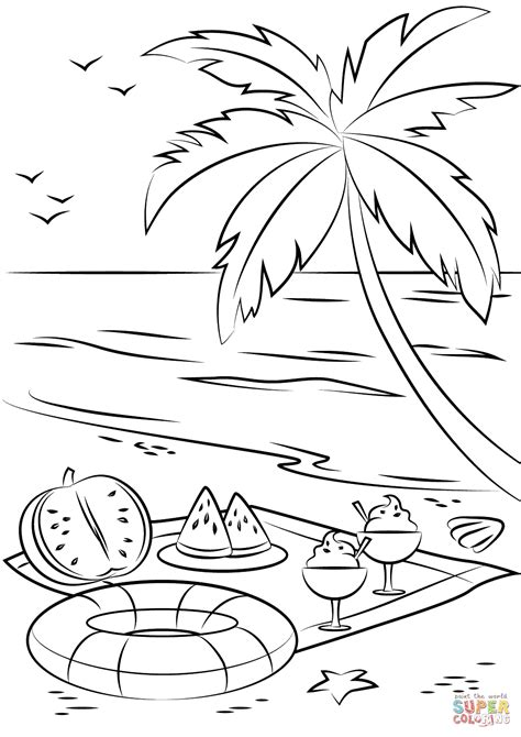 summer color pages summer picnic coloring page free printable