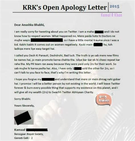 Apology Letter Joke Kamaal R Khan S Apology Letter To Anushka Sharma For Jokes Indiatv News