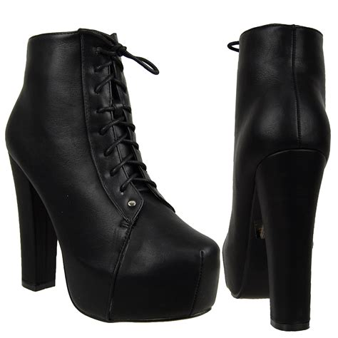 womens ankle boots leather chunky high heel platform lace