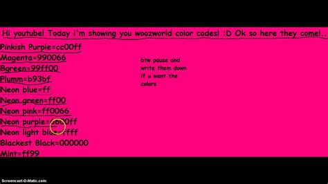 youtube color code woozworld color codes youtube