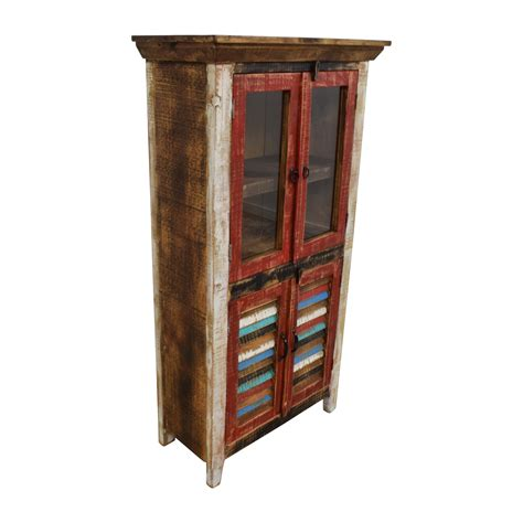 wood and glass cabinet 48 horizon home antique rustic glass and wood