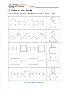 extend patterns worksheets for kindergarten size patterns basic shapes a wellspring