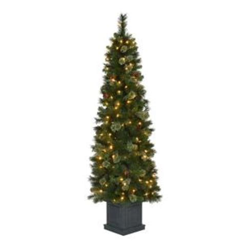 home depot winterberry outdoorlit tree 6 ft pre lit led fir artificial potted tree x 457 tips with 150 ul indoor