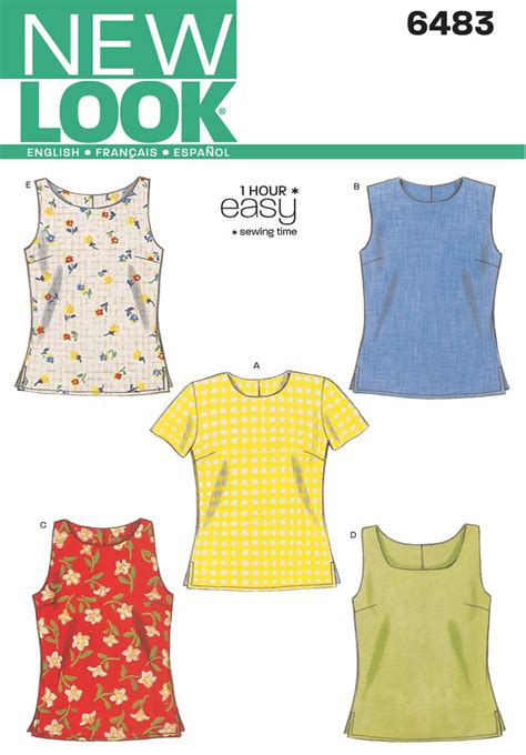 patterns sewing easy new look 6483 misses tops