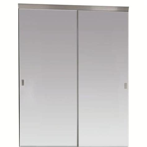 Beveled Mirror Closet Doors Impact Plus 60 In X 80 In Beveled Edge Mirror Solid Plycor Interior Closet Sliding Door