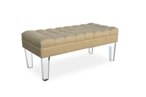 lucite x bench tufted lucite bench 24w x 24d acrylic legs hollywood