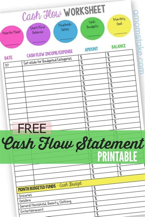 template sample cash flow statement template samples projection