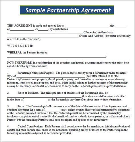 partnership agreement template california small business agreement template adktrigirl