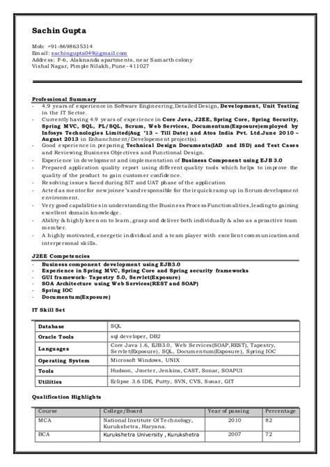 Sle Resume For Java J2ee Developer Resume Of Java Developer Worksheet Printables Site