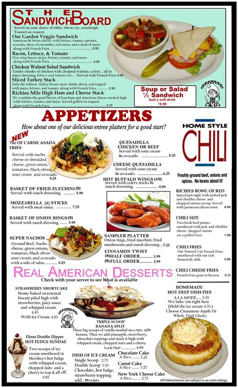appetizer dinner menu our menu in victoville ca richie s real american diner