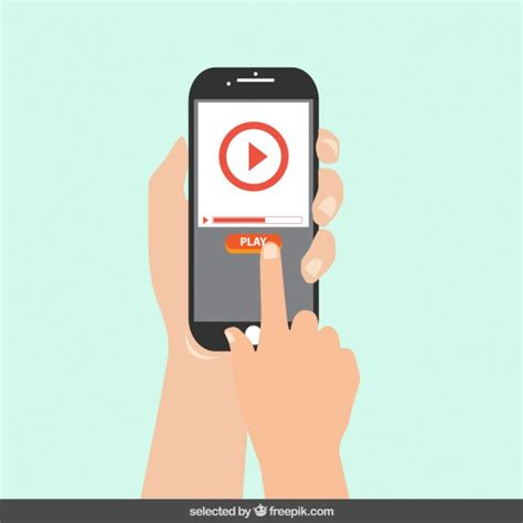 play for mobile mobile phone with play button on the screen vector free