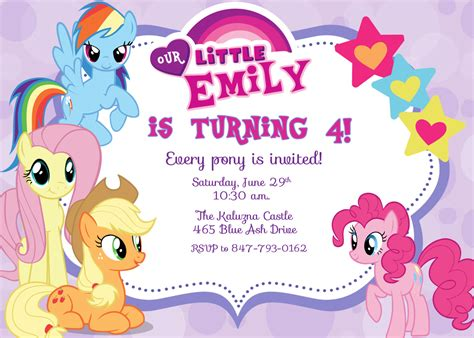 printable birthday invitations my little pony free printable my little pony birthday invitations
