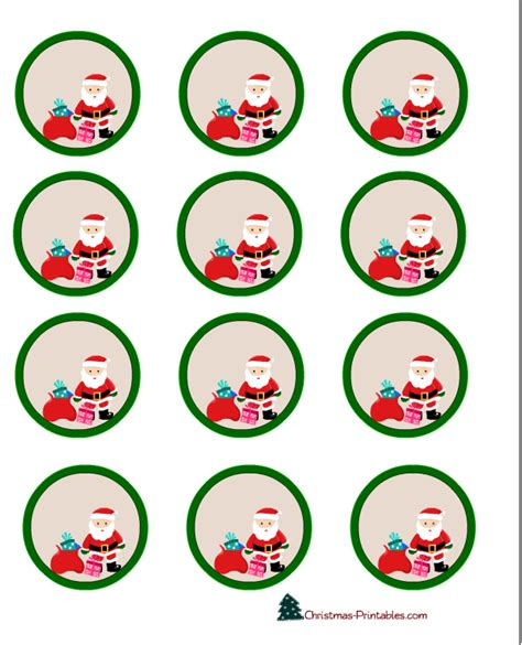 free printable christmas cupcake toppers round labels