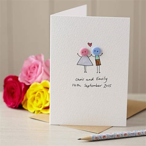 Handmade Card - personalised button love illustrated card by