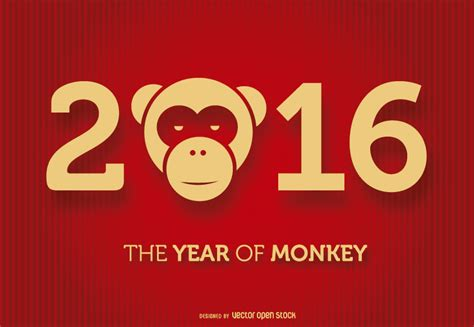 new year the year of the monkey 2016 year of the monkey free vector