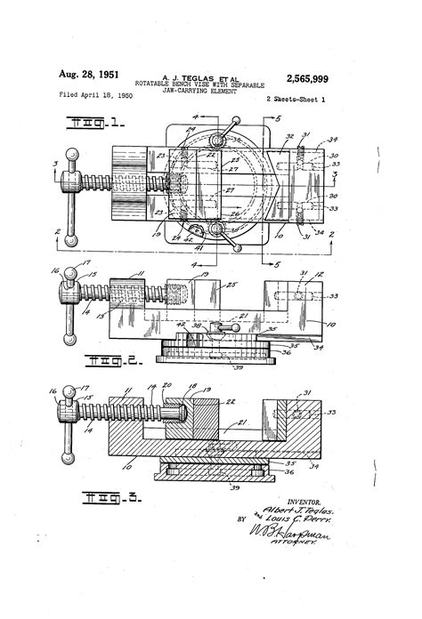 bench vise drawing patent us2565999 rotatable bench vise with separable jaw