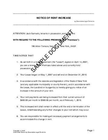 Rent Increase Letter Format In India Notice Of Rent Increase Usa Templates Agreements Contracts And Forms