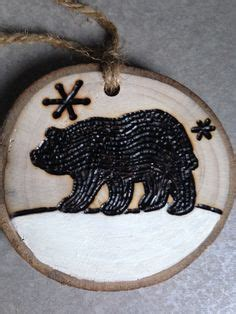 large rustic black bear on wood hand painted by 1000 images about woodburning ornaments on pinterest
