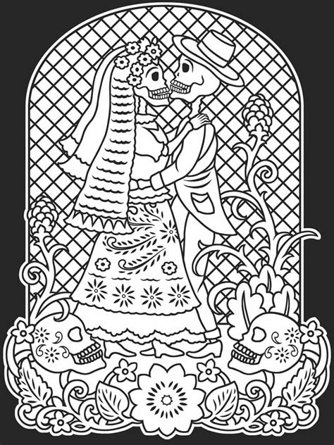 Dia De Los Muertos Couple Coloring Pages | free day of dead coloring pages