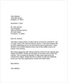 Termination Service Letter Exle How To Write A Termination Letter Cleaning Company Cover