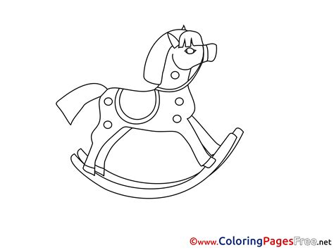 coloring page of a rocking horse rocking horse kids free coloring page