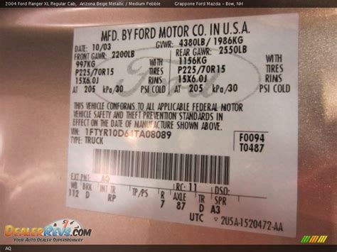 ford color code aq arizona beige metallic dealerrevs