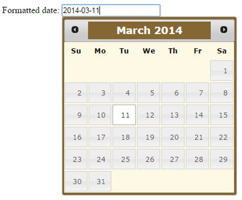 format date using jquery jquery ui datepicker calendar with 9 exles