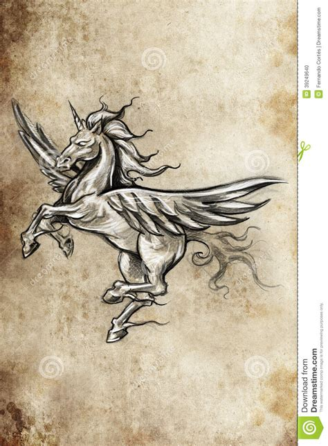 tattoo sketch paper tattoo unicorn sketch handmade design stock illustration