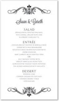 black victorian ornamental flourish menu template