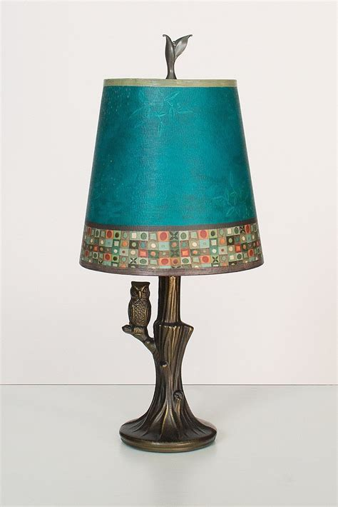 bronze owl l with small drum shade in jade mosaic by