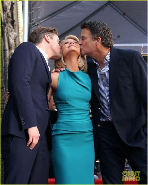 mark consuelos kelly ripa kiss matt bomer supports kelly ripa at her hollywood walk of